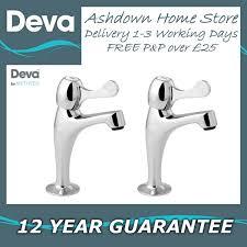 Deva CNTL Lever Action Modern Chrome Kitchen Sink Pillar Taps Pair - Kitchen sink pillar taps