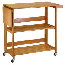 folding kitchen cart with knife block light oak walmart com