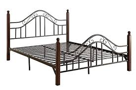 dhp sydney metal bedframe headboard and footboard with wood posts