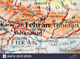 Tehran Map Close Up Of Map Of Tehran Capital City Of Iran Stock Photo