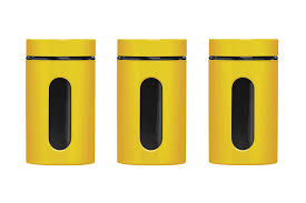 yellow kitchen canisters premier housewares storage canisters yellow set of 3 amazon co