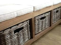 white hallway storage bench with baskets and cushion hall bench