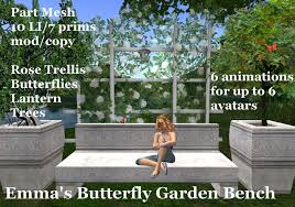 second life marketplace emma u0027s butterfly garden bench for 6