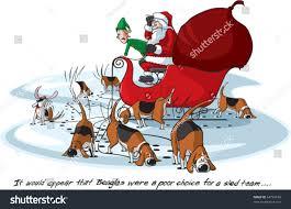 cartoon santa on his sleigh layered stock vector 64794190