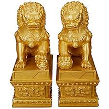 gold lion statues wealth porsperity pair of fu foo dogs guardian lion
