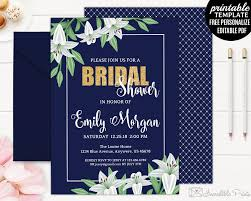 navy bridal shower invitation template printable navy and white