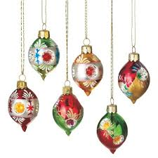 set of 6 retro style reflector glass drop ornaments 2 75
