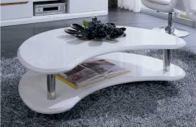 modern lacquer coffee table furniture in white features two