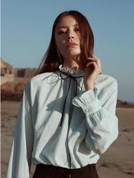 mint blouse vuiel ruffle detailed ribbon blouse mint