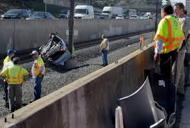 car overturns on 210 freeway shutting down gold line service