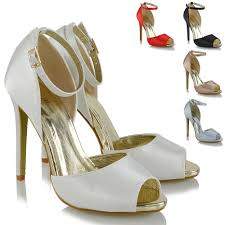 womens ankle strap high heel sandals ladies peep toe cut out satin