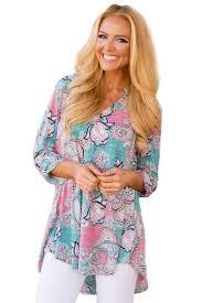 paisley blouse fashion blue pink floral paisley gorgeous print v neck blouse
