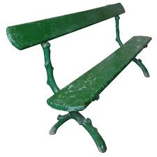 green painted french park bench for sale at 1stdibs