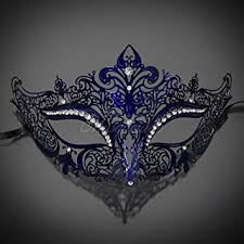 blue masquerade masks new women metal mask venetian style navy blue colorful