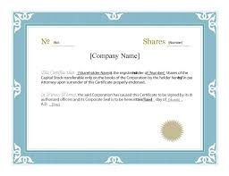 Stock Certificate Template Word 40 free stock certificate templates word pdf template lab