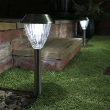 solar stake lights with back up battery white leds 2 pack 38cm