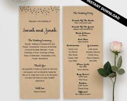 affordable wedding programs sided program etsy