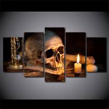 aliexpress com buy 5 piece canvas art scary skull burning candle aliexpress com buy 5 piece canvas art scary skull burning candle hd printed wall art home decor canvas painting picture poster prints ny 6583a from