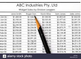 Spreadsheet Widget Spreadsheet Widget Sales By Division Leaders Stock Photo Royalty
