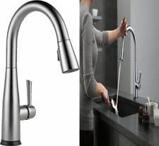 touch kitchen faucet delta essa touch2o technology sgle hdle pull sprayer kitchen