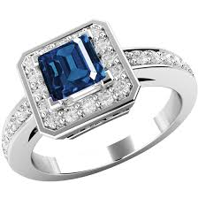 round square rings images Sapphire and diamond cluster ring for women in 18ct white gold png