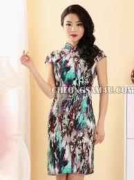 short sleeve ink green pattern cheongsam ink green pattern qipao