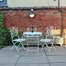 Folding Patio Bistro Set 3pc Cream Metal Patio Bistro Set Garden Outdoor Folding Dining Set