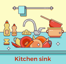 dessin evier cuisine évier de cuisine avec la vaisselle de cuisine illustration de
