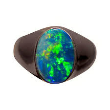 real blue opal mens solitaire opal ring 14k wide band flashopal
