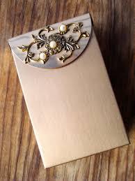 Vintage Business Card Case Vintage 1950s Cigarette Case Brushed Metal Pearls Business Card