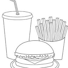 cola fries and burger junk food trio coloring page cola fries and