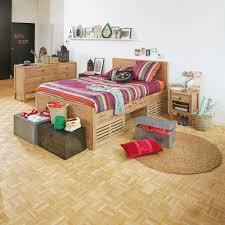 chambre acacia gaia chambre lit 2 places en acacia avec rangements et tête de lit