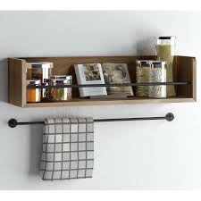 Wood Wall Mount Spice Rack Rustic State Floating Wood Wall Shelf With Metal Rail Great As