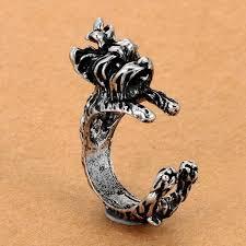 vintage dog ring holder images New fashion 3 color vintage antique poodle chic dog open size ring jpg