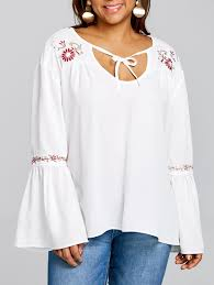 embroidered blouses 2018 plus size bell sleeve embroidered blouse white xl in plus