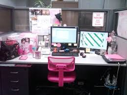 Pink Computer Desk Office Cubicle Decor Ideas Pinterest Work Idea With Photos