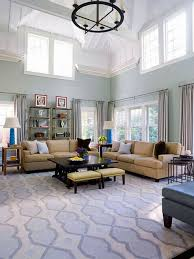 retro blue living room with high ceiling light for chic look