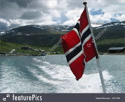 Norweigan Flag Waterscapes Norwegian Flag On A Stern Of A Boat Stock Image