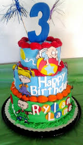 a rugrats birthday cake a 6 inch lemon cake 8 inch and 10 inch