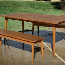 mid century modern dining table with bench west elm room and