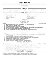 Summary Of Skills Resume Sample Best Nanny Resume Example Livecareer