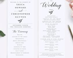 Sample Wedding Programs Templates Elegant Calligraphy Wedding Program Template Modern Wedding