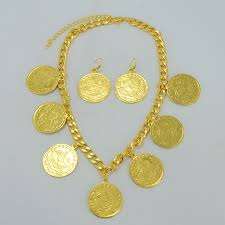 Wedding Gift Necklace Aliexpress Com Buy Turks Big Coin Jewelry Set Necklace Earrings