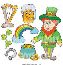 vector clip art of a digital collage of st patricks day items pot