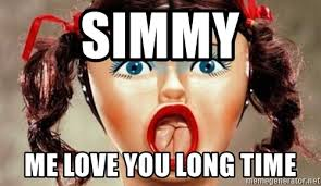 Me Love You Long Time Meme - simmy me love you long time surprised blow up doll meme generator