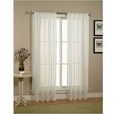 sheer window treatments amazon com elegant comfort 2 piece solid white sheer window