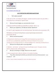 Staffing Recruiter Resume Us It Recruiter Interview Questions