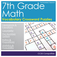 math worksheets 7th grade math vocabulary crossword puzzles tpt