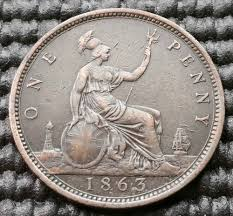 k50 uk 1863 victoria one penny coin km 749 recently sold coins