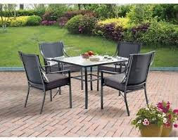 grey patio set outdoor dining furniture 5 piece 4 chairs padded